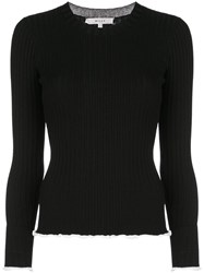 Milly Ribbed Knit Sweater Black