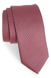 Boss Men's Geometric Silk Tie Burgundy