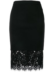 Twin Set Fitted Floral Lace Skirt Black