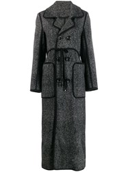 Dsquared2 Glen Check Double Breasted Coat Black