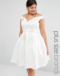 Chi Chi Plus Chi Chi London Plus Off Shoulder Full Prom Midi Skater Dress With Lace Embroidery Cream