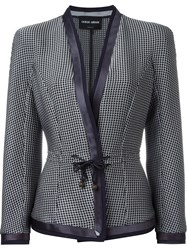 Giorgio Armani Fitted Houndstooth Blazer Blue