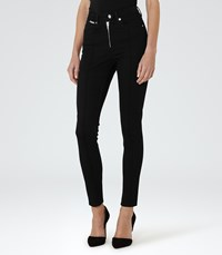 Reiss Francis Womens High Rise Zip Front Jeans In Black