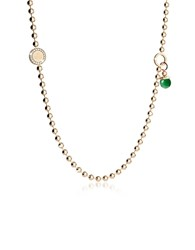 Rebecca Boulevard Stone Yellow Gold Over Bronze Necklace W Double Charms Green