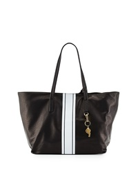 Cynthia Rowley Hayden Striped Trim Leather Tote Bag Black