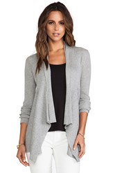 Autumn Cashmere Ribbed Drape Cardigan Gray