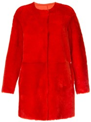 Desa 1972 Collarless Shearling Coat Red