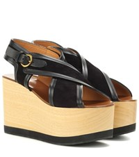 Isabel Marant Zlova Suede And Wood Wedge Sandals Black