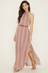 Forever 21 High Slit Ornate Maxi Dress Rust Cream