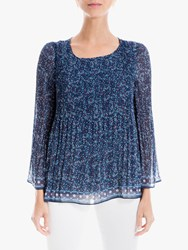 Max Studio Long Sleeve Floral Pleated Top Navy Red
