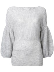 Theatre Products Puff Sleeve Knit Blouse Grey