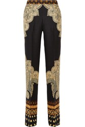 Etro Printed Silk Cloque Wide Leg Pants Multi