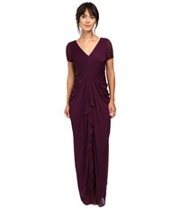 Adrianna Papell Pin Tucked And Draped Gown Cassis Women's Dress Purple
