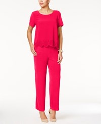 Ny Collection Petite Laser Cutout Popover Jumpsuit Pink
