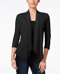 Ny Collection Petite Lace Back Draped Cardigan Black