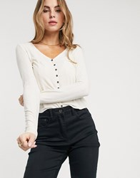 Pieces Top With Button Detail In Cream Rib White