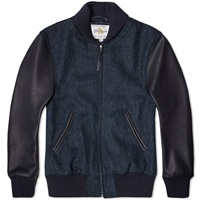 Golden Bear Sportswear Harris Tweed Varsity Jacket Navy Herringbone