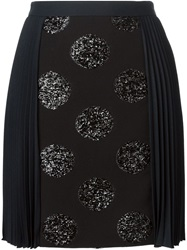 Emanuel Ungaro Embellished Dots Front Pleated Skirt Black