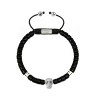 Clariste Jewelry Men's Ceramic Bead Bracelet Black With Silver Skull