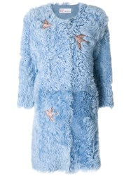 Red Valentino Embroidered Coat Cotton Lamb Fur Blue