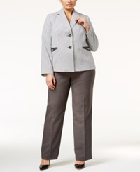 Le Suit Plus Size Two Button Houndstooth Jacket Pantsuit Charcoal White
