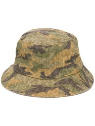 Kent And Curwen Camouflage Print Hat Green