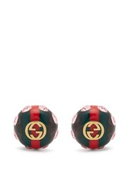 Gucci Gg Web Stripe Crystal And Gold Tone Earrings Green