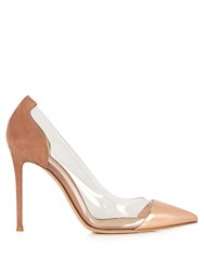 Gianvito Rossi Plexi Suede And Leather Pumps Nude