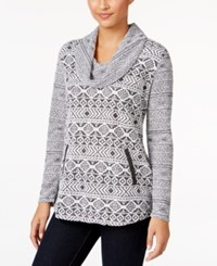 Styleandco. Style Co. Jacquard Cowl Neck Knit Top Only At Macy's Winter Aztec White