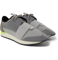Balenciaga Race Runner Suede Neoprene And Leather Sneakers Light Gray