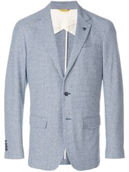 Canali Patterned Blazer Blue