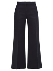 Valentino Crepe Couture Wool Blend Kick Flare Trousers Navy