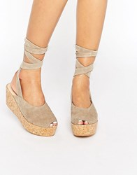 Warehouse Wrap Around Flatforms Stone Cream