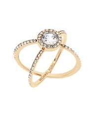 Michael Kors Modern Brilliance Crystal Double Band Ring Goldtone