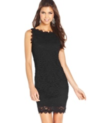 Jump Juniors' Sleeveless Lace Dress Black
