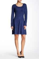 Max Studio Scoop Neck Sweater Dress Blue