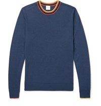 Paul Smith Stripe Trimmed Wool Sweater Blue