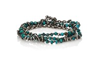 M Cohen M. Men's Beaded Cord And Oval Link Chain Wrap Bracelet Turquoise
