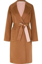 Veronica Beard Lyonia Belted Two Tone Wool And Cashmere Blend Coat Tan
