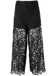 Alice Olivia Cropped Lace Trousers Women Polyester Spandex Elastane 6 Black