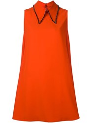 Mcq By Alexander Mcqueen Rhinestone Pointed Collar Dress Yellow And Orange