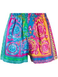 Versace Fluo Barocco Print Shorts Pink