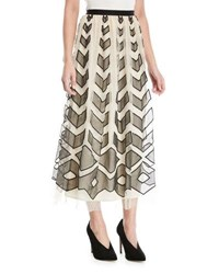 Red Valentino Point D'esprit Long Skirt With Cutouts Ivory Nero