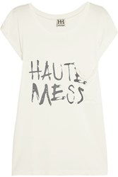 Haute Hippie Printed Modal Jersey T Shirt Ivory