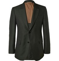 Berluti Green Slim Fit Cotton Mohair And Wool Blend Suit Jacket