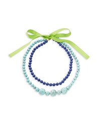 Trina Turk Two Row Beaded Necklace Blue
