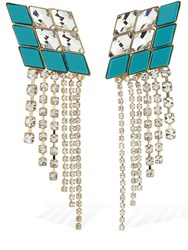 Anton Heunis Omega Diamond Cascade Earrings Crystal