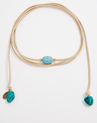 Krystal Wrap Choker Necklace With Swarovski Crystal Turquoise Gold