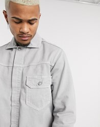 Mennace Pocket Denim Jacket In Grey