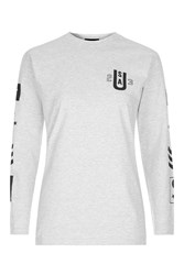 Topshop Long Sleeve Arm Graphic T Shirt Grey Marl